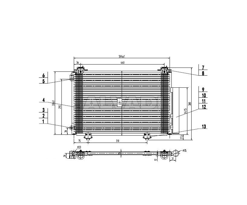 AC condenser 88450-0D020 for TOYOTA YARIS (CP10)