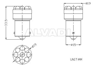 Led pirnid 24V BA15s / R5W 9 lediga, VALGE